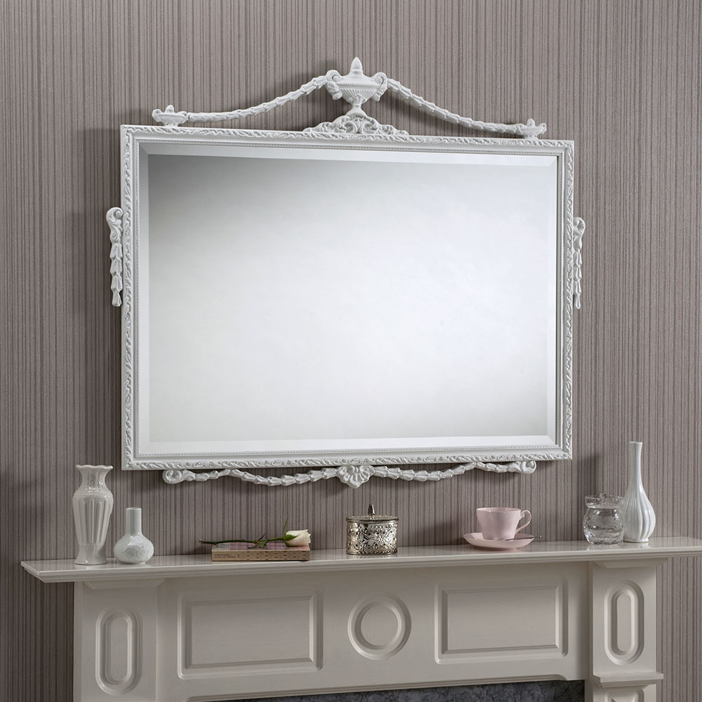 Adam white british made mirrors ornate over mantles for Mantle mirror